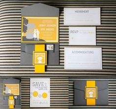 unique wedding stationary yellow and grey