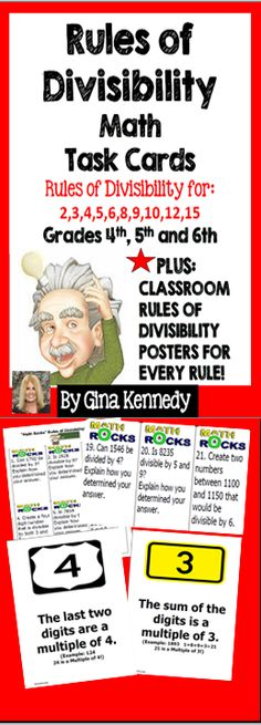 Challenging Rules of Divisibility Task Cards and Posters! A set of 36 task cards… School Fun, School Stuff, School Ideas, Classroom Rules, Classroom Posters, Teaching Schools, Teaching Tips, 4th Grade Math, Third Grade