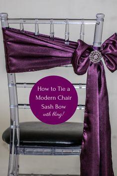 How to Tie a Chair Sash - The Angled Bow Method Diamond Wedding Theme, Wedding Chair Sashes, Bling Wedding, Wedding Chairs, Wedding Reception Decorations, Diy Wedding, Wedding Venues, Wedding Ideas, Reception Ideas