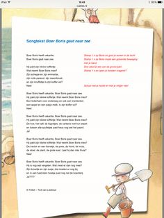 Songtekst: Boer Boris gaat naar zee. Music For Kids, Summertime, Poems, Teaching, School, Poetry, Verses, Schools, Learning