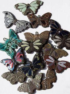 Assorted Ceramic Butterflies by Lisa Peters Art, via Flickr
