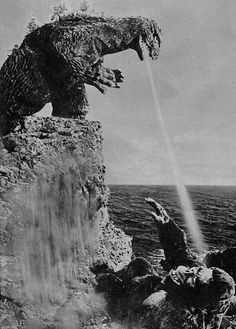 """Godzilla killing King Kong with his second hand flavored vape smoke. """"It was banana killed the beast. Classic Monster Movies, Classic Monsters, Classic Movies, Old Posters, King Kong Vs Godzilla, Godzilla Godzilla, Japanese Monster, Famous Monsters, Poster S"""