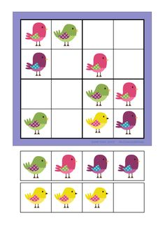 "Use this color soduko for problem solving for kids to understand the process. You could have several pics for ""set-up"", a pocket chart or grid and picture cards. Students set up the board and then use the remaining cards to solve. Later, introduce soduko with numbers."