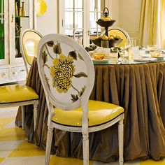 stylish seating: upholster the back of a dining chair in a different yet complementary pattern