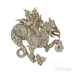14kt Gold and Diamond Brooch. | Auction 2899B | Lot 531 | Sold for $2,091