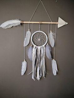 White arrow nursery dream catcher/ White & Silver large baby
