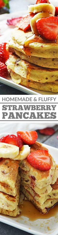 Strawberry Pancakes dotted with homemade dried strawberries and drizzled with pure maple syrup is a hearty and delicious way to start the day. This easy recipe is sure to be a family favorite! Best Breakfast Recipes, Brunch Recipes, Dessert Recipes, Breakfast Meals, Top Recipes, Breakfast Time, Amazing Recipes, Desserts, Strawberry Pancakes