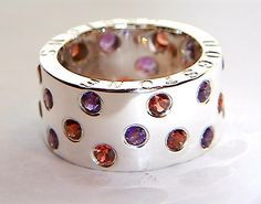 Handmade 925 Sterling Silver Ring Garnet and Amethyst Stone Band Chunky Silver Wedding Rings via Etsy