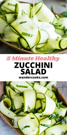 Just 4 ingredients are needed for this light and refreshing Raw Zucchini Salad (also known as Salade de Courgettes). It's such an easy cold salad recipe, you can whip it up in just 5 minutes! Enjoy as a healthy lunch or side Summer salad. Summer Salad Recipes, Easy Salad Recipes, Easy Salads, Summer Salads, Easy Dinner Recipes, Vegetarian Recipes, Healthy Recipes, Raw Zucchini Salad, Healthy Zucchini