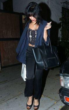 Vanessa Hudgens wearing Chanel Suede Platform with Wood Wedge and Celine Boston Bag