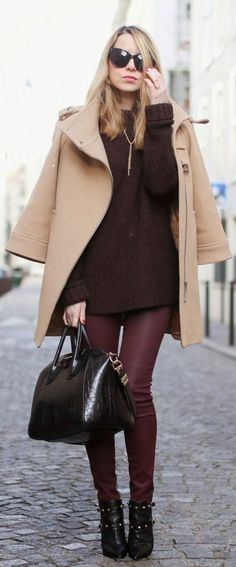 #winter #fashion / burgundy + camel coat