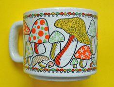 vintage mug 70s mushrooms by OldLikeUs on Etsy
