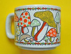 vintage mug 70s mushrooms by OldLikeUs on Etsy.... I've always been so in love with all the 70s mushroom decor!!