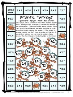 Turkey multiplication game from Turkey Math Games Multiplication and Division $
