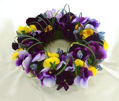 ~Miss Pansy's Garden Cottage~ Deco Floral, Floral Design, Johnny Jump Up, Corona Floral, Sympathy Flowers, Fall Wreaths, Diy Wreath, Pansies, Floral Arrangements