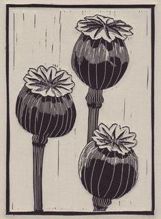 Poppy Pods print by Abby Ginsberg Art Optical, Linoprint, Naive Art, Linocut Prints, Art Plastique, Art Sketchbook, Poppies, Art Drawings, Illustration Art
