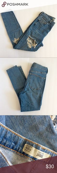 Topshop Moto Jamie Distressed Jeans Great Pre owned Condition - high waist super snug curvy fit - ankle cropped Topshop Jeans Skinny