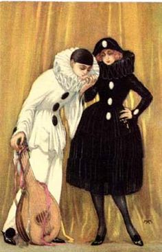Pierrot kissing Pierrette's hand.