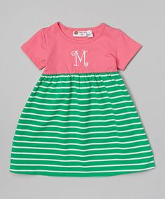 Another great find on #zulily! Pink & Green Stripe Initial Dress - Infant, Toddler & Girls #zulilyfinds
