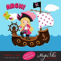 Pirates Ships and Treasure Island Clipart Girls Instant by mujka Pirate Hats, Pirate Theme, Digital Invitations, Digital Stamps, Treasure Chest Clipart, Cute Rainbow Unicorn, Clip Art, Treasure Island, Mermaid Birthday