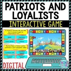 "Cure student boredom with this Interactive Google Slides™ Digital Patriots and Loyalists Board Game Review! This Review Game comes with 28 questions related to the American Revolution and Colonial America. The questions are self-checking. No prep! Topics include: Patriots, Loyalists, ""Common Sense,"" Thomas Paine, Benedict Arnold and the Declaration of Independence. #patriotsandloyalists #middleschool #upperelementary #interactive 4th Grade Social Studies, Social Studies Activities, History Activities, Upper Elementary Resources, Elementary Schools, Common Sense Thomas Paine, Middle School History, Engage In Learning, Review Games"