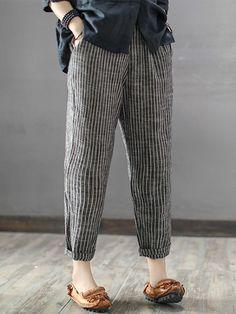 Buy Pants & Capris For Women at Popjulia. Online Shopping Casual Linen Striped P… - Hosen Mode Abaya, Mode Hijab, Fashion Pants, Fashion Outfits, Fashion Trends, Fashion Ideas, Ladies Fashion, Fashion 2018, Classy Fashion