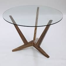 Furniture, Fascinating Round Glass Table With Wooden Legs Three Varnished Oak Wood Based Legs Coffe Table Using Round Glass Top On White Ceramic Tiled Floor Glass Round Dining Table, Dining Table Design, Glass Table, Round Glass, Coffee Table Redo, Coffee Table Design, Dining Room Furniture, Dining Room Table, Ceramic Floor Tiles