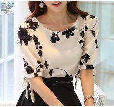 2015 Fashion Summer Ladies Vestidos Retro Flower Print Chiffon Shirt chiffon floral blouse Women short Sleeve Casual Brand Tops