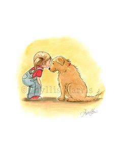 First Love Illustration - Little Girl and Golden Retriever - Beloved Pet Art - Wall art for Children's Rooms and Nurseries