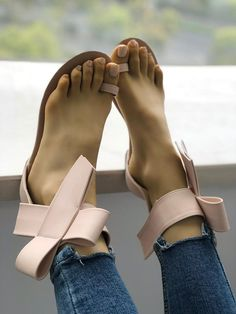 2ef8c25c640 Shop Solid Bowknot Toe Ring Sandals right now