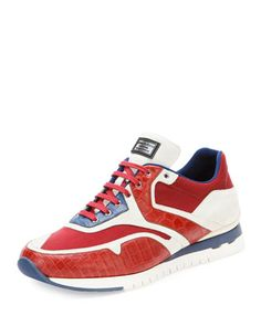 Croc & Leather Sport Sneaker, Red by Stefano Ricci at Neiman Marcus.