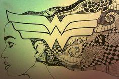Wonder Woman Zentangle/ Art+Geekism=Awesomeness Geek stuff