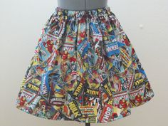 Womens Marvel Comic Book Skirt  Sizes X-Small  by AquamarCouture
