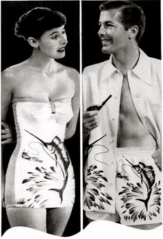 """His & hers matching Catalina swordfish bathing swim suits, """"Sweethearts In Swim Suits"""" (late 1940's, vintage)"""