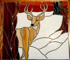 stained glass Deer panel