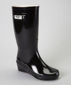 Loving this Black Wedge Rain Boot - Women on #zulily! #zulilyfinds
