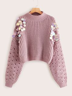 To find out about the Sequin Detail Drop Shoulder Sweater at SHEIN, part of our latestSweaters ready to shop online New Arrivals Dropped Daily. Cute Sweaters, Winter Sweaters, Sweater Weather, Shein Pull, Sweater Outfits, Cute Outfits, Cardigan Shirt, Pullover Sweaters, Pull Long