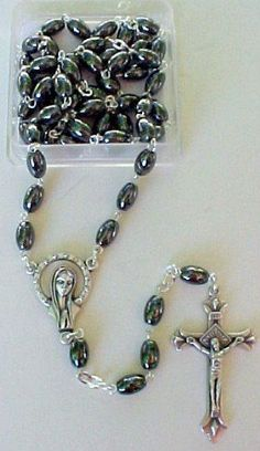 Rosary ~ Hematite Oval Beads Rosary with Madonna and Ornate Crucifix