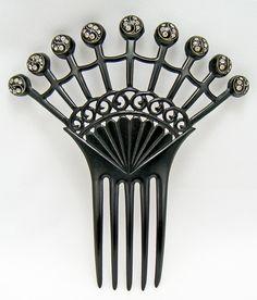 Black Celluloid and Rhinestone Hair Comb - 1920 - 30