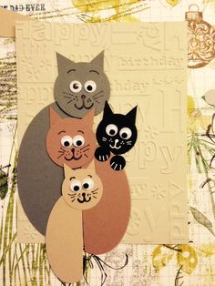 ideas birthday crafts for kids cards for 2019 Kids Birthday Cards, Birthday Crafts, Handmade Birthday Cards, Cat Cards, Kids Cards, Pinterest Cards, Art For Kids, Crafts For Kids, Cat Quilt