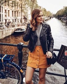 beautiful fall outfits . Leather skirts are so cute for the fall and can be paired with anything .
