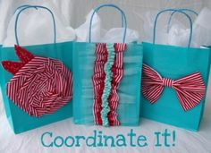 Get creative with easy embellished gift bags. I love the colors! They could even be Christmas wrap ideas or any other holiday colors you choose to use!