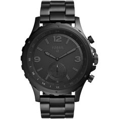 Men's Fossil Q Nate Bracelet Hybrid Smart Watch, 50Mm (€155) ❤ liked on Polyvore featuring men's fashion, men's jewelry, men's watches, black and mens watches jewelry