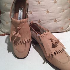 New listing Donald Pliner Tassel loafers These are unique, gorgeous, & never worn. Tan nubuck leather with mesh insets. Never worn but see last photo for small spot on heel.  Donald Pliner shoes are well crafted & timeless. Donald J. Pliner Shoes Flats & Loafers