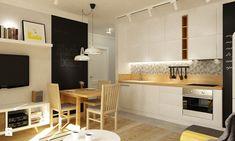 Mieszkanie na Woli Warszawa 54m2 - Duża otwarta kuchnia jednorzędowa, styl skandynawski - zdjęcie od Grafika i Projekt architektura wnętrz