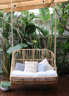 Deluxe Handmade Double Hanging Natural Rattan Egg Chair Swing | eBay