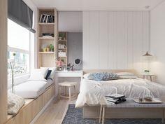 Nhat-Tan Tran on Behance Design Living Room, Small Room Design, Room Design Bedroom, Modern Bedroom Design, Room Ideas Bedroom, Small Room Bedroom, Home Room Design, Bedroom Layouts, Home Decor Bedroom