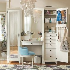 Old style dresser and wardrobes with compartments