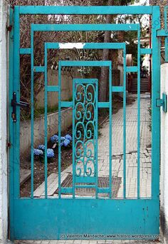 Art Deco garden gate, 1930s, Bucharest.  Love this blue & the blue of the hydrangea in the background