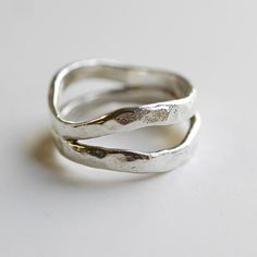 Sterling Silver Ring Ecofriendly recycled silver stacking ring Textured hammered rustic unique Artisan jewelry Gift for Her Unique Silver Rings, Silver Ring Designs, Silver Stacking Rings, Mens Silver Rings, Silver Wedding Rings, Silver Bangles, Wedding Rings For Women, Sterling Silver Jewelry, Gold Jewelry